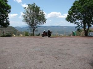 Picture of CAthy and Bertha in the distance at a stop in the mountains of Mexico.
