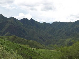 Picture of the moutains in Colombia with the surface folded like layers in cloth.